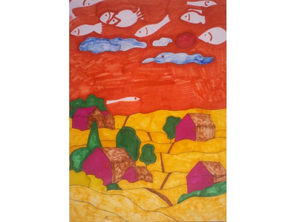 田园风光绘画铅笔画展示